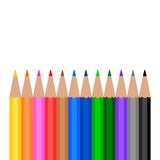 Colorful Wooden Pencils on white background. 12 colors stock illustration
