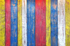 Colorful Wooden Plank Panel Stock Photo