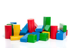 Colorful wooden play blocks Stock Images