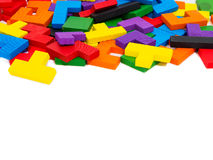 Colorful wooden puzzle for kid on white background Royalty Free Stock Photo