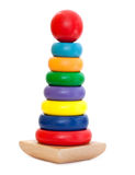 Colorful Wooden Pyramid toy royalty free stock photos