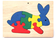 Colorful wooden rabbit puzzle Stock Photo