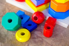 Colorful wooden ring children toy royalty free stock photo