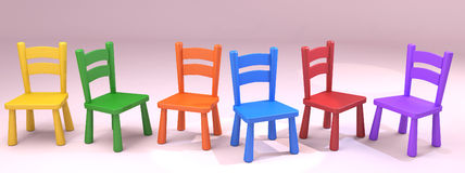 Free Colorful Wooden School Chairs Royalty Free Stock Photography - 62109217