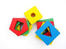 Colorful wooden shape block on isolated Royalty Free Stock Images