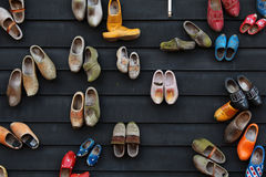 Colorful wooden shoes on wall. Wooden shoes wall in historical small dutch village Zaanse Schans Stock Photography