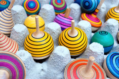 Colorful Wooden Spinning Tops Royalty Free Stock Images