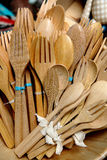 Colorful wooden spoon and forks Royalty Free Stock Photography