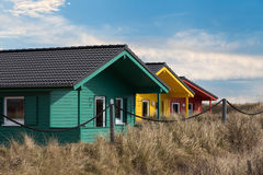 Colorful wooden tiny houses on the island Stock Image
