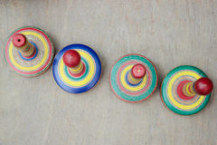 Colorful wooden tops Stock Photography