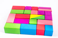 Colorful wooden toy block Stock Photos