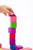 Colorful wooden toy block. Isolate from white background Royalty Free Stock Image