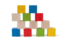 Colorful wooden toy blocks Stock Photos