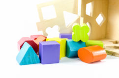 Colorful wooden toy blocks isolated on white Stock Image