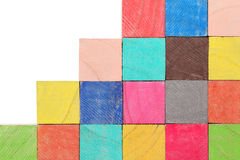 Colorful wooden toy blocks Royalty Free Stock Photos