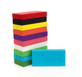 Colorful wooden toy blocks on white Stock Photography