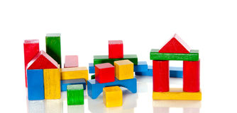 Colorful wooden toy bocks Royalty Free Stock Images