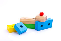 Colorful wooden toy bricks Royalty Free Stock Photos