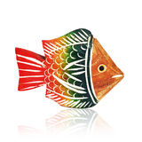 Colorful wooden toy fish. An image isolated on white with clipping path Stock Image