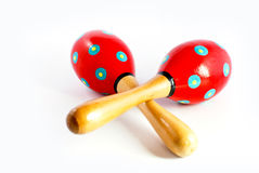 Colorful wooden toy maracas Stock Photos