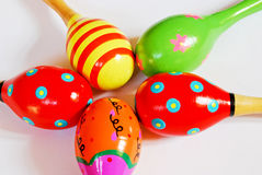 Colorful wooden toy maracas Stock Images