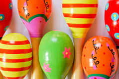 Colorful wooden toy maracas Royalty Free Stock Photos