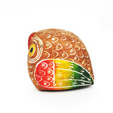 Colorful wooden toy owl. An image isolated on white with clipping path Stock Photography