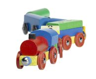 Colorful wooden toy train Stock Photography