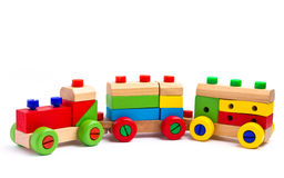 Colorful wooden toy train Royalty Free Stock Image