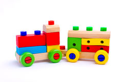 Colorful wooden toy train. Isolated on white background Royalty Free Stock Photos