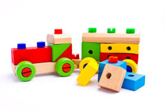 Colorful wooden toy train. Isolated on white background Royalty Free Stock Photography