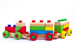 Colorful wooden toy train. Isolated on white background Stock Image