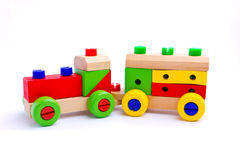 Colorful wooden toy train. Isolated on white background Stock Photos