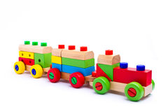 Colorful wooden toy train. Isolated on white background Stock Photography