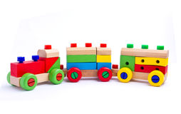 Colorful wooden toy train. Isolated on white background Royalty Free Stock Images
