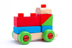 Colorful wooden toy train Stock Images