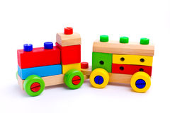 Colorful wooden toy train. Isolated on white background Royalty Free Stock Image