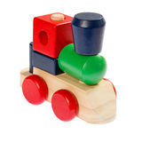 Colorful wooden toy train. Isolated on white background Royalty Free Stock Photo