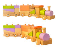 Colorful wooden train Royalty Free Stock Photos