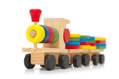 Colorful wooden train toy. For developing of baby logic Royalty Free Stock Image