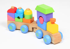 Colorful wooden train toy Stock Photos