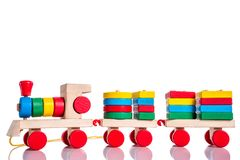 Colorful wooden train toy over white Royalty Free Stock Photo