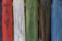 Colorful wooden trunks forming decorative walls and ceilings. Brazil stock photography