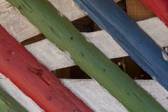 Colorful wooden trunks forming decorative walls and ceilings. Brazil stock photos