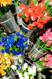 Colorful wooden tulips royalty free stock photos