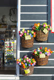 Colorful wooden tulips for sale Royalty Free Stock Image