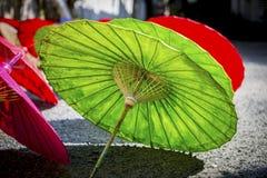 Colorful wooden umbrella Stock Photo