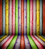 Colorful wooden wall Stock Photo