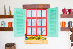 Colorful Wooden Window Country Style Stock Photos