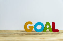 Colorful wooden word Goal with white background6 Royalty Free Stock Photo